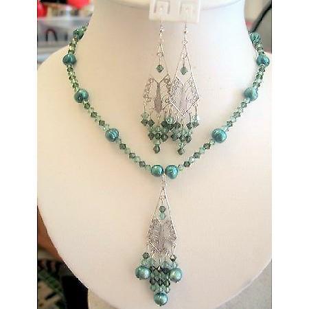 Swarovski Crystals Erinite Green FreshWater Pearls Custom Necklace Set