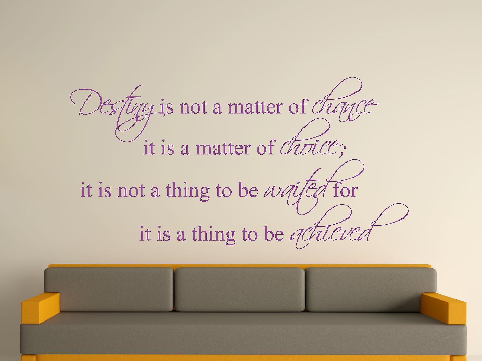 Destiny Is Not A Matter of Chance Wall Art Sticker - Purple