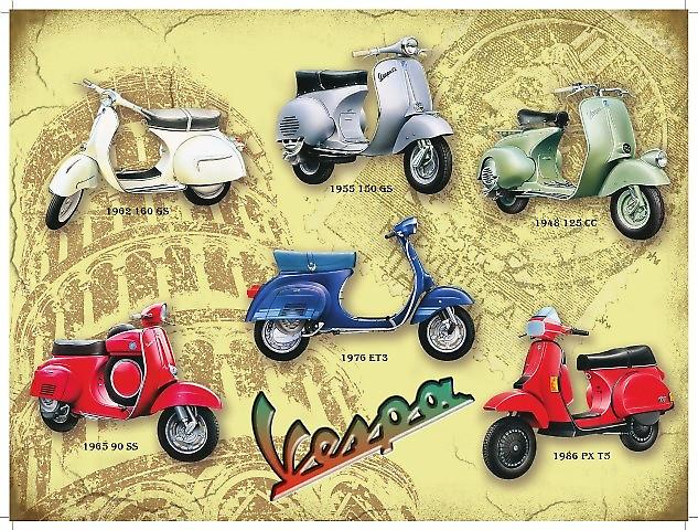 Vespa Collage large Steel Sign  (og 4030)