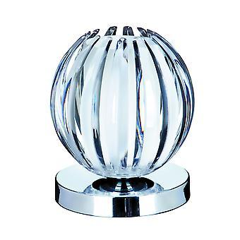Lampa stołowa Touch Chrome z przejrzystego akrylu i matowego szkła - Searchlight 1811CL