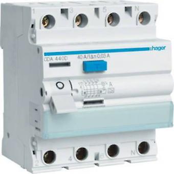 Hager CDA440D RCCB 4-pins 40 per 0.03 een 230 V AC, 400 V AC