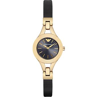 Emporio Armani Ar7405 Chiara Black Leather Strap Ladies Watch