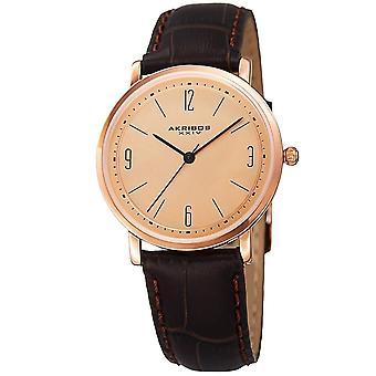 Akribos XXIV Women's Quartz Easy to Read Leather Brown Strap Watch AK922BRRG