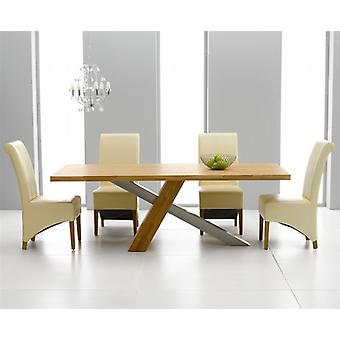 Montana 2.25m Oak & Steel Dining Set With 8 Cream Bromley Chairs