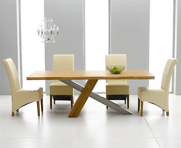 Montana 2.25m Oak & Steel Dining Set With 8 Cream Barcelona Chairs