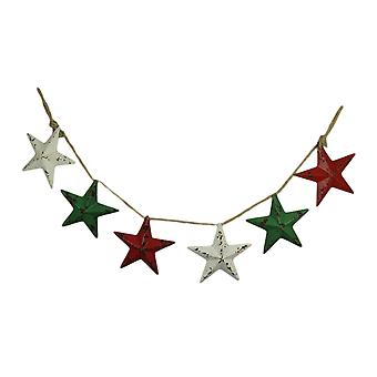 Red White and Green Metal Stars Rustic Garland Hanging Holiday Decoration