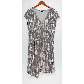 H by Halston Dress Printed Knit V-Neck Split Hem Gray A274549