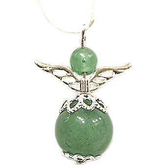 Nyleve Designs handmade Semi-precious Adventurine Gemstone Guardian Angel in Silver Plated - Luck, Optimism, Confidence