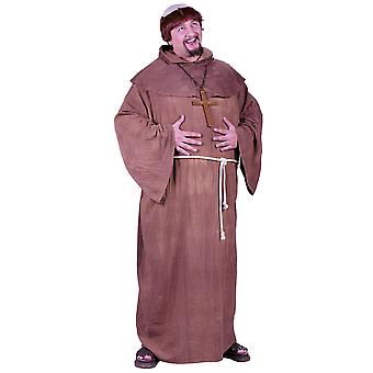 Medeltida Monk Robe friar Tuck Robin Hood religiösa mens kostym & Wig plus size