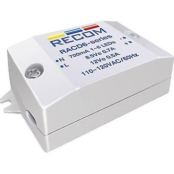 Recom Lighting RACD06-350, 6W AC-DC LED Power Supply 3 - 22V 350A
