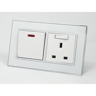 I LumoS AS Luxury White Mirror Glass  Double 20A Switch with Switched 13A  UK Socket