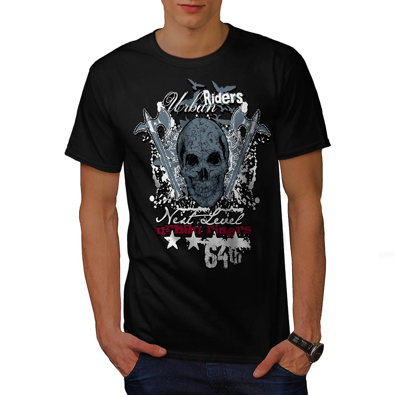 Urban Hell Rise Rider Bike Skull Men Black T-shirt | Wellcoda