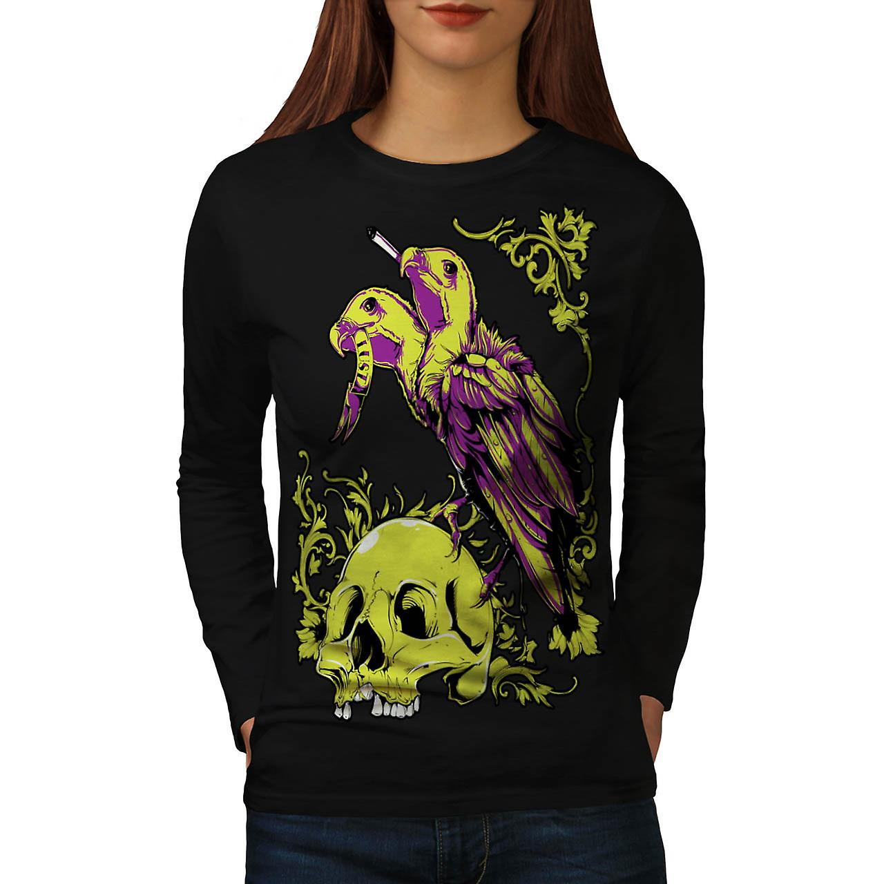 Scavenger Lust Crow Burial Land Women Black Long Sleeve T-shirt | Wellcoda