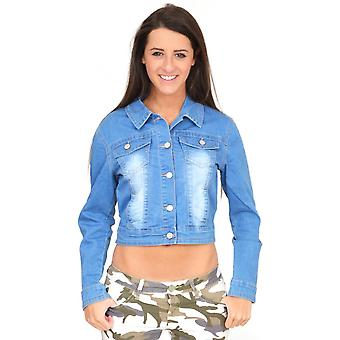 Light Blue Faded Fitted Stretch Cropped Denim Jean Jacket