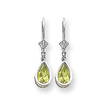 14k White Gold Polished 8x5mm Pear Peridot Leverback Earrings - 1.80 cwt