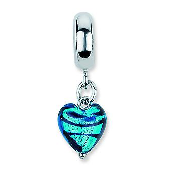 Sterling Silver Reflections Blue Heart Stripes Ital Murano Dangle Bead Charm