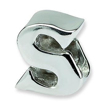 Sterling Silver Polished Reflections SimStars Letter S Bead Charm