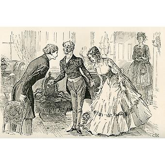 David Meets Dora and Miss Murdstone Mr Copperfield my daughter Dora and my daughter Doras confidential friend Miss Murdstone Illustration by Harry Furniss for the Charles Dickens novel David Copperfie