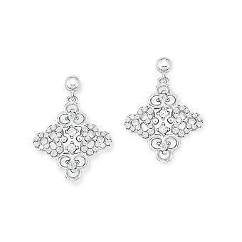 s.Oliver jewel ladies silver cubic zirconia earrings flower SO1229/1 - 523387