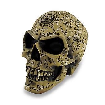 Alchemy Gothic antigua Rune grabado Omega cráneo estatua