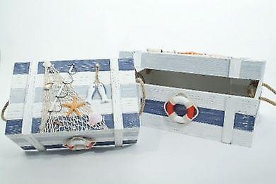 Set of 2 bois Boxes Sailing Fishnet Seashells