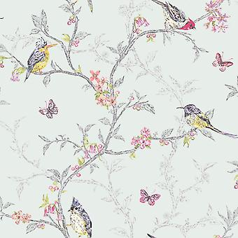 Holden Decor Soft Teal Colourful Birds Trees Floral Butterfly Wallpaper