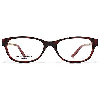 Kurt Geiger Anna Petite Soft Rectangular Acetate Glasses In Red Tortoiseshell With Red Interior