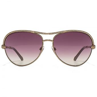 Roberto Cavalli Vega Aviator Sunglasses In Shiny Light Bronze