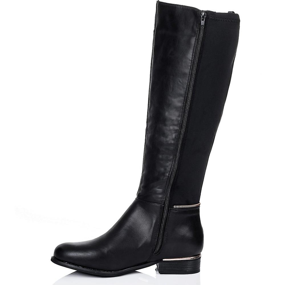 c7cad97718b Spylovebuy PROVENCE Zip Flat Stretch Knee High Tall Boots - Black Leather  Style