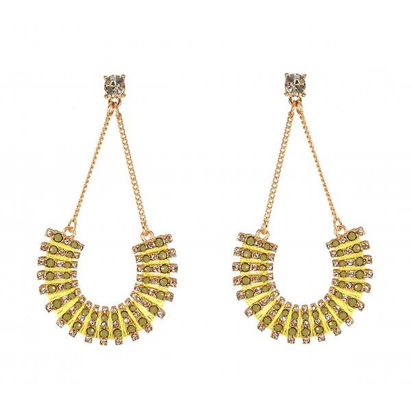 W.A.T Gold Style Chain And Lime Green Curved Shaped Earring