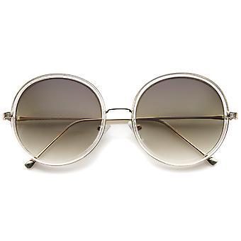 Retro Fashion Metal Temple Two-Tone Oversize Round Sunglasses 53mm