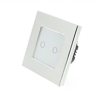 I LumoS Silver Brushed Aluminium 2 Gang 1 Way Touch Dimmer LED Light Switch White Insert