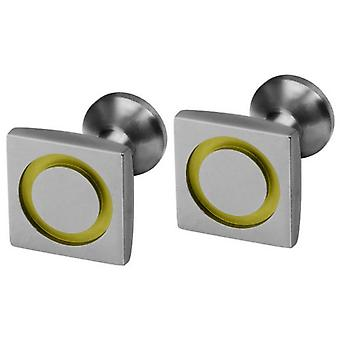 Ti2 Titanium Square Circle Inlay Cufflinks - Lemon Yellow