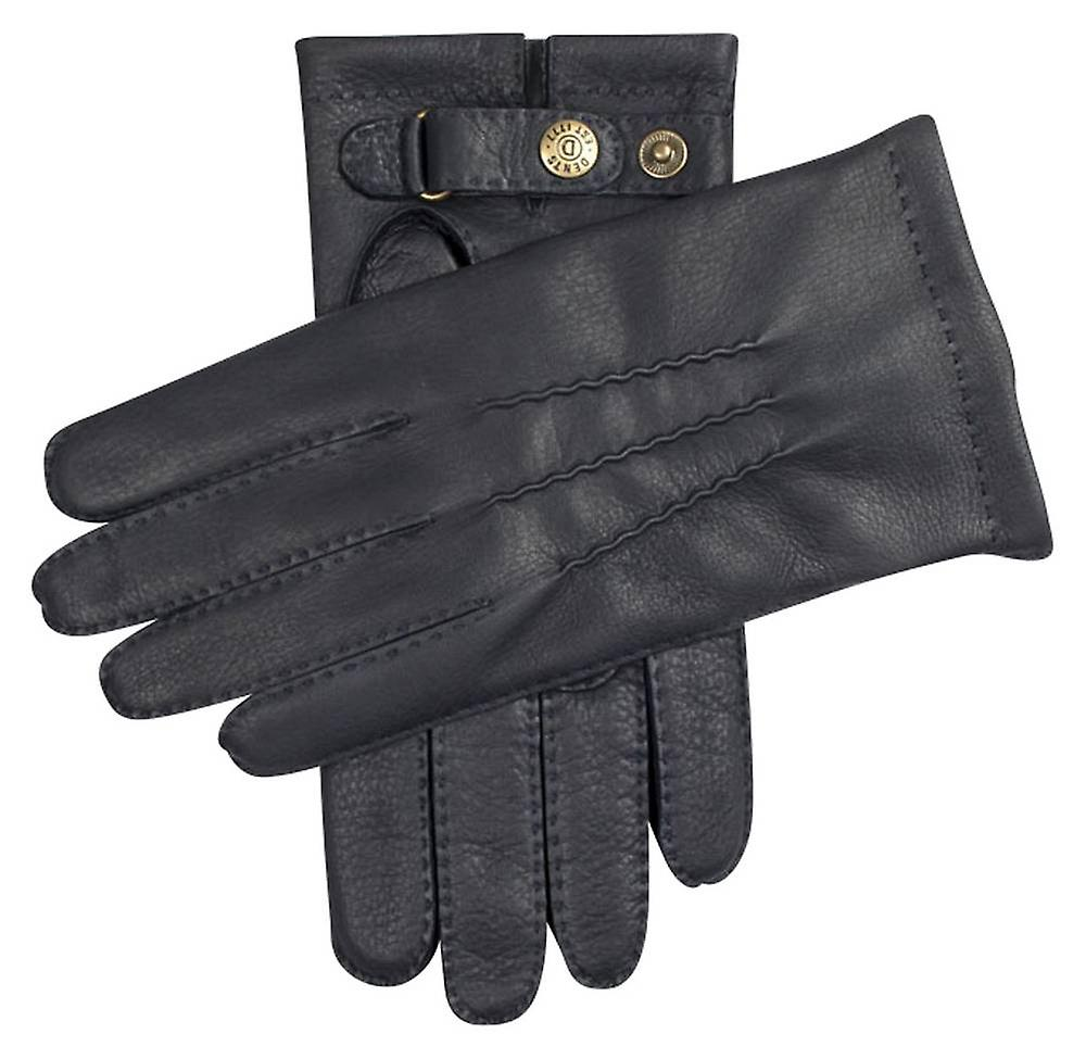 Dents Canterbury Cashmere Lined Deerskin Leather Gloves - Navy