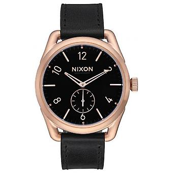 Nixon C39 Leather Watch - Rose Gold/Schwarz