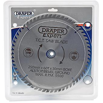 Draper 09488 TCT Circular Saw Blade 250 X 30mm X 60T fits Mitre and Table Saws