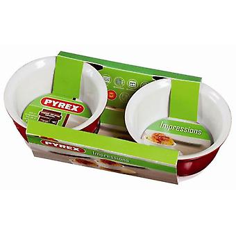 Pyrex Set 2 Flaneros  Rojo/Blanco  Impressions (Home , Kitchen , Bakery , Molds)
