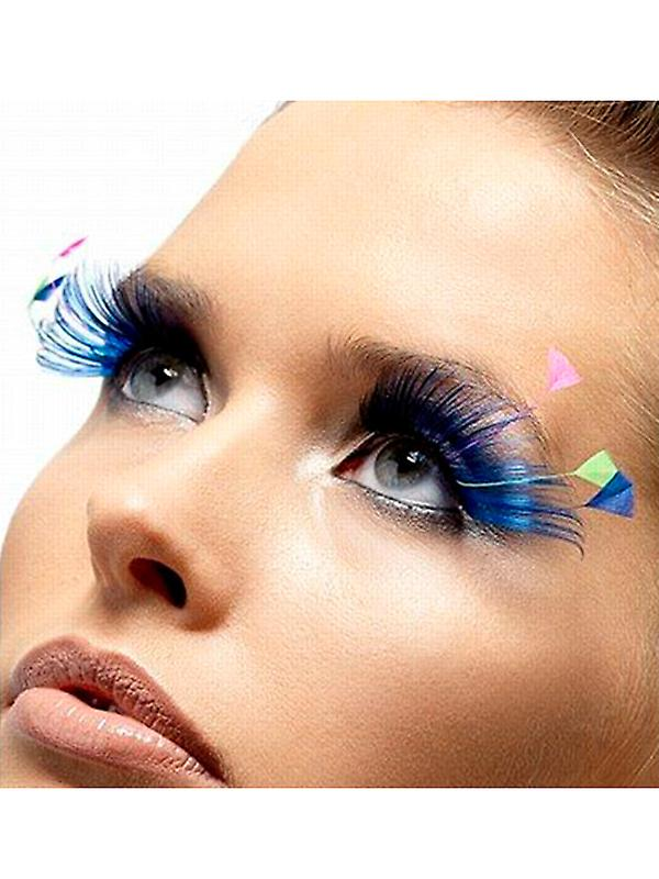 Feather Plume Eyelashes - Blue and Neon - contains Glue