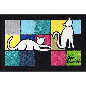 Salon lion Gigi Banini Gatti Bianchi of washable mats floor mats