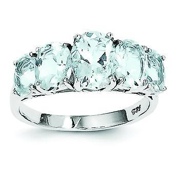 925 Sterling Silber Rhodium Aqua Herz Ring - Ringgröße: 6 bis 8