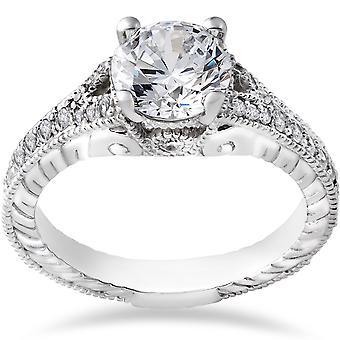 1 1/4ct Vintage Diamond Engagement Ring 1ct center Ring 14K White Gold Enhanced