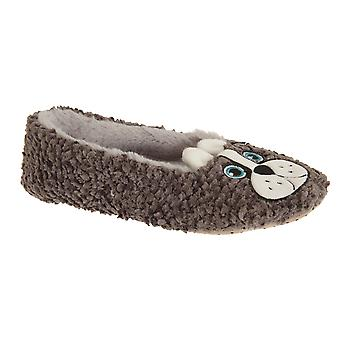 Slumberzzz Womens/Ladies Slip On Dog Fleece Slippers