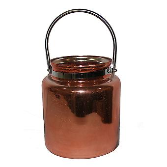 Koper klaar glas kaars lantaarn met metalen handvat 8 1/2 Inches Tall