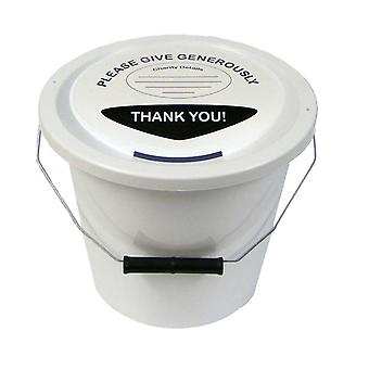 10 Charity Money Collection Buckets 5 Litres - White