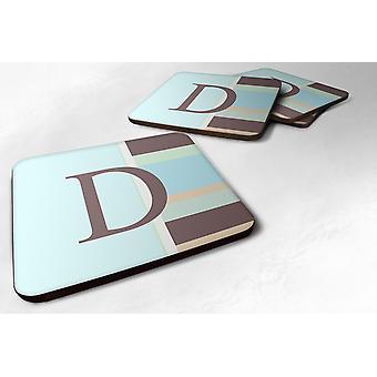 Conjunto de 4 monograma - rayas azul espuma posavasos letra inicial D