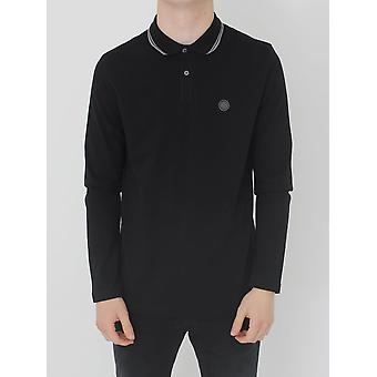 Pretty Green Barton L/Sleeved Tipped Polo - Black