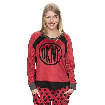 DKNY Damen-Longsleeve Urban Break Rot/Schwarz