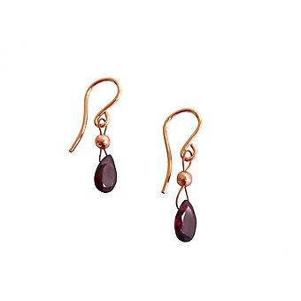Gemshine - ladies - earrings - rose gold plated - garnet - red - dripping - faceted - 1.5 cm