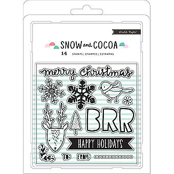 Snow & Cocoa Clear Stamps 14/Pkg-Snowflakes, Animals, Words 379157