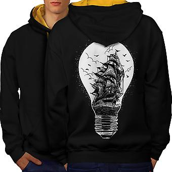 Ship Lightbulb Fashion Men Black (Gold Hood) Contrast Hoodie Back | Wellcoda